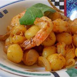 How to cook Creamy Saffron Shrimp with Gnocchi and Caramelized Onion