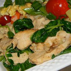 How to cook Pea Shoots and Chicken in Garlic Sauce