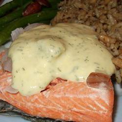 How to cook Quick Poached Salmon with Dill Mustard Sauce